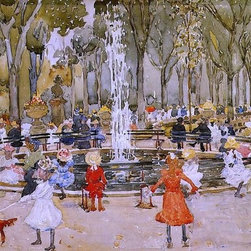 """Maurice Prendergast In Central Park, New York  Print - 16"""" x 24"""" Maurice Prendergast In Central Park, New York premium archival print reproduced to meet museum quality standards. Our museum quality archival prints are produced using high-precision print technology for a more accurate reproduction printed on high quality, heavyweight matte presentation paper with fade-resistant, archival inks. Our progressive business model allows us to offer works of art to you at the best wholesale pricing, significantly less than art gallery prices, affordable to all. This line of artwork is produced with extra white border space (if you choose to have it framed, for your framer to work with to frame properly or utilize a larger mat and/or frame).  We present a comprehensive collection of exceptional art reproductions byMaurice Prendergast."""