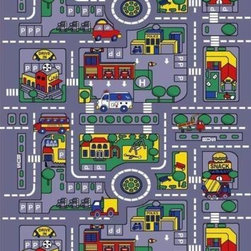 "Navitz LLC - City Streets Children Area Rugs 39""x58"" - Non-slip cross pattern backing for hard surfaces"