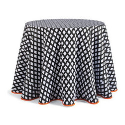Grandin Road - Ghost Harlequin Halloween Tablecloth - Halloween Decorations and Decor - Tablecloth is trimmed in bright orange piping. Runner and topper host a script border with orange and black checked trim. Durable cotton canvas. Dry clean. Our ghostly tablecloth and runner are subtly spooky. Come closer and see for yourself: the black and white checks of our trend-setting harlequin pattern are little ghosts!  .  .  .  . Imported.
