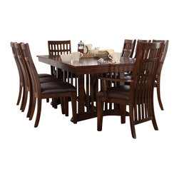 Standard Furniture - Standard Furniture Artisan Loft 10-Piece Dining Room Set in Aged Bronze - The rustic yet refined character of arts and crafts styling is portrayed in the authentic craftsman elements found in artisan loft dining.