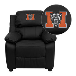 "Flash Furniture - Mercer University Bears Black Leather Kids Recliner with Storage Arms - Get young kids in the college spirit with this embroidered college recliner. Kids will now be able to enjoy the comfort that adults experience with a comfortable recliner that was made just for them! This chair features a strong wood frame with soft foam and then enveloped in durable leather upholstery for your active child. This petite sized recliner features storage arms so kids can store items away and retrieve at their convenience. Mercer University Embroidered Kids Recliner; Embroidered Applique on Headrest; Overstuffed Padding for Comfort; Easy to Clean Upholstery with Damp Cloth; Flip-Up Storage Arms; Storage Arm Size: 3.25""W x 6""D x 11""H; Solid Hardwood Frame; Raised Black Plastic Feet; Intended use for Children Ages 3-9; 90 lb. Weight Limit; Black LeatherSoft Upholstery; LeatherSoft is leather and polyurethane for added Softness and Durability; CA117 Fire Retardant Foam; Safety Feature: Will not recline unless child is in seated position and pulls ottoman 1"" out and then reclines; Overall dimensions: 25""W x 26"" - 39""D x 28""H"