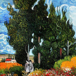 "overstockArt.com - Van Gogh - The Cypresses - 20"" X 24"" Oil Painting On Canvas Hand painted oil reproduction of a famous Van Gogh painting, The Cypresses . The original masterpiece was created in 1880-90. Today it has been carefully recreated detail-by-detail, color-by-color to near perfection. Vincent Van Gogh's restless spirit and depressive mental state fired his artistic work with great joy and, sadly, equally great despair. Known as a prolific Post-Impressionist, he produced many paintings that were heavily biographical. This work of art has the same emotions and beauty as the original by Van Gogh. Why not grace your home with this reproduced masterpiece? It is sure to bring many admirers!"