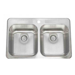 Lenova - Lenova Ca-Tm-Ed-3H Topmount Double Bowl Kitchen Sink Stainless Steel - The Lenova CA-TM-ED Top Mount Double-Bowl Drop-in Kitchen Sink has overall sink dimensions of 31-Inch by 20-1/2-Inch and bowl dimensions of 14-Inch by 16-Inch by 8-Inch. The name Lenova is born from a love of space and stars where the universe is truly unlimited. In this boundless spirit we present a line of new and timeless designs for kitchen and bath sinks. Classic in style and exceptional in quality. Premium 18-Gauge 304 stainless steel with a scratch resistant silk finish assures a lifetime of beauty and wear resistance. Lenova's 5 side sound baffling system combines sound pads and full undercoating to insulate and quiet the sinks during use. Covered by Lenova's Limited Lifetime Warranty: Lenova Sinkware warrants all of its stainless steel sinks to be free of all manufacturing and material defects under normal use by the original owner.