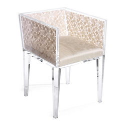 """Natural Floret Lace Chair - This is a custom, handcrafted, """"Floral Art"""", one-of-a-kind item. The Natural Floret Lace Chair created from clear lucite acrylic frame with encased Venetian lace and a silk upholstered seat."""