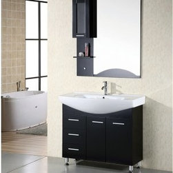 Design Element Sierra 40-in. Single Bathroom Vanity Set - The Design Element Sierra 40-in. Single Bathroom Vanity Set provides a sleek cutting-edge style to your guest- or master bathroom. Featuring a frame made from solid oak and finished in a dark espresso this charming free-standing piece incorporates three spacious pull-out drawers and a soft-closing double-door cabinet to help keep your toiletries organized and your counter clear. Fine white porcelain serves as the countertop for the piece featuring an integrated drop-in sink and contrasting the finish brilliantly. About Design Element GroupBased in California the Design Element Group is quickly becoming an industry leader thanks to their focus on maintaining a position at the forefront of emerging trends in furniture design modern materials and quality craftsmanship. From their humble beginnings in 2010 Design Element Group has made quite the name for itself providing high-quality bathroom vanities at an affordable price. Each piece is professionally designed and handcrafted never mass-produced. Their passion commitment to their products and loyalty to their customer base has made the Design Element Group a company to take note of.