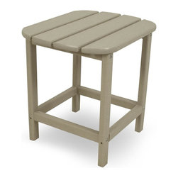 Polywood - Eco-friendly Side Table in Sand - Its just the right size for resting drinks and snacks, making it the ideal companion to the South Beach Adirondack, Dining Chair, Chaise or Rocker. Want to turn your outdoor living space into the hottest spot in the neighborhood? Its easy with the South Beach Collection. Just like the popular Miami Beach scene, you'll enjoy an eclectic blend of bold art deco along with the relaxed comfort and style that you've come to expect from traditional Adirondack furniture. This collection not only looks amazing, but its also built to last for years to come. Provides the look of painted wood without the maintenance