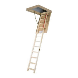 Fakro - Fakro 8.10 ft. Thermo Wooden Attic Ladder - RB-021185 - Shop for Ladders from Hayneedle.com! The traditional look and innovative safety features of the Fakro 8.10 ft. Thermo Wooden Attic Ladder make it a fine addition to any home. This attic passageway is easy to install and its highly insulated white hatch seals tightly to help save you money on heating costs. The ladder itself is like the door made from solid wood and it also features non-slip rubber feet and handrails on the side for added safety. Available in sizes 47L x 22W in. and 47L x 25W in. The frame height of this unit reaches 22cm inside the loft when fully closed. ANSI certified. About Fakro A privately owned company established in Poland in 1991 FAKRO has grown into one of the most dynamic and fastest growing companies in the world with over a 15% share of the global market and 3 300 employees. Their extensive research and development center produces a wide variety of roof windows with unique design and functionality accessories and the very latest in solar collectors. Their emphasis on health safety security and environmental impact is unmatched. For an expansive range of top-of-the-line products for all imaginable applications look to FAKRO.