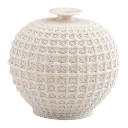 Kathy Kuo Home - Diana Coastal Beach Ceramic Woven Knit Sweater Pattern Modern Bud Vase - A delicate basket weave effect, brought convincingly to life in matte ceramic, delivers a textural treat to any space. Referencing Asian weaving  and ceramic traditions, this beauty would look great in a contemporary, country or modern styled space.