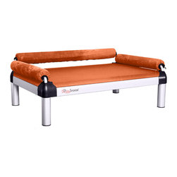 DoggySnooze - snoozeSofa, Long Legs, 3 Bolster Green, 3 Bolster Org - If you spend half your time coaxing your pampered pooch off your couch, here's a sofa just for him. Elevated for comfort, with three sturdy bolsters to support him, this stylish dog bed comes in a selection of colors to complement your home or office decor. Made in the USA and available in three sizes, with optional black anodized frame, long legs and memory foam.