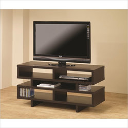 Coaster Contemporary TV Console with Open Storage in Cappuccino