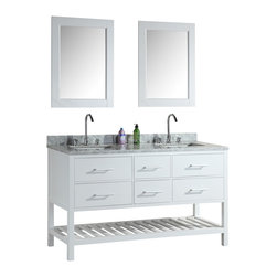 "Design Element - Design Element London 61"" Single Sink Vanity Set w/ Open Bottom - White - The London 61"" Double Sink Vanity Set is constructed with solid wood and provides a contemporary design perfect for any bathroom remodel. The ample storage in this free-standing vanity set includes two flip-down shelves, four fully functional drawers each accented with brushed nickel hardware as well as an open shelf at the base of the cabinet. The cabinet is available in an espresso or white finish both as a complete set with a carrara white marble counter top and two matching framed mirrors."
