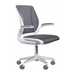 "Humanscale - Humanscale | Diffrient World Task Chair - The Diffrient World Task Chair is Humanscale's first foray into the all-mesh task seating market. Like the Liberty Task  Chair,  the Diffrient World Task Chair features a tri-panel mesh back that hugs the body and provides built-in lumber support. Named  for  the designer Niels Diffrient, the Diffrient World Task Chair has mechanism-free recline action that provides the end user with  automatic, balanced support throughout the full range of recline. Intuitive and comfortable, the Diffrient World Task Chair  creates the ultimate user-friendly experience.The Diffrient World Task Chair is available with a standard 5""  cylinder and hard casters for use on carpeted floors. Includes 15 year warranty for 24/7 use."
