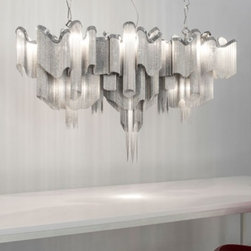 """Terzani - Terzani Stream J52S chandelier - The Stream J52S chandelier is another exquisite design from Christian Lava for TERZANI. The Stream chandelier adds a majestic presence in any room. Resembling water in the ocean, the Steams cascade of nickel chains and bands appear as water cascading downward as a waterfall would look, coming alive when the light is turned on. The Stream is composed of over four miles of chain creating a shimmering effect when the light reflects off the illuminated lengths of draped chain. The Stream is not only a chandelier, it is a piece of art! Illumination is provided by G9, 12x35W Halogen - JCD and GU10 MR20, 3x35W Halogen bulb (not included). This high quality hanging light is made in Italy and features the highest standards in materials and craftmanship.         Product Details: The Stream J52S chandelier is another exquisite design from Christian Lava for TERZANI. The Stream chandelier adds a majestic presence in any room. Resembling water in the ocean, the Steams cascade of nickel chains and bands appear as water cascading downward as a waterfall would look, coming alive when the light is turned on. The Stream is composed of over four miles of chain creating a shimmering effect when the light reflects off the illuminated lengths of draped chain. The Stream is not only a chandelier, it is a piece of art! Illumination is provided by   G9, 12x35W Halogen - JCD and GU10 MR20, 3x35W Halogen bulb  (not included). This high quality hanging light is made in Italy and features the highest standards in materials and craftmanship.  Details:                         Manufacturer:            TERZANI                            Designer:            Christian Lava                            Made in:            Italy                            Dimensions:                        Diffuser: Length: 55""""(140cm) X Height: 29.5""""(75cm)             Cable Length: 39.4""""(100cm)                                         Light bulb:                        G9, 12x35"""