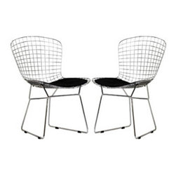 """LexMod - CAD Dining Chairs Set of 2 in Black - CAD Dining Chairs Set of 2 in Black - The minimal nature of this CAD Wire Side Chair is an asset for any lover of modern furniture. A simple yet stylish design evoking the height of modern classic design. As comfortable as it is attractive, this is the sort of accent chair that starts conversations. Set Includes: Two - CAD Wire Side Chairs in Silver Frame Chrome Steel Frame, Vinyl Seat Pad, with Velcro Strips, Plastic Non-Marking Feet Overall Product Dimensions: 21""""L x 21""""W x 32""""H Seat Dimensions: 18""""L x 17""""H Leatherette Seat Cushion Dimensions: 16.5""""L x 17""""W - Mid Century Modern Furniture."""