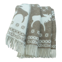 "Happy Blanket - 100% New Zealand Wool Throw Blanket Moose 51"" X 67"", Brown - This moose blanket is a perfect jazz up for your decor, for cozy snuggling in the cold winter evening, or just to add extra warmth on your bed. Great present for the young and older."