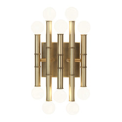 Robert Abbey - Jonathan Adler Meurice Wall Sconce - Now here's a bright idea for your walls. Metal rods are fitted with exposed light bulbs on each end for a fixture that's positively illuminating.