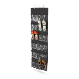 Honey Can Do - 24-Pocket Over-Door Shoe Organizer - Holds 12 pairs of shoes. Eliminates floor clutter. Slim design. Gives easy access to stored items. Easy hook attachment. Fits most doors. 21 in. L x 3 in. W x 57 in. H (0.95 lbs.)Honey-Can-Do SFT-01249 24-Pocket Over-The-Door Closet Organizer, Black Polyester. Turn a jumbled mess into a well-kept closet with this 24-Pocket shoe and accessory organizer. Easily hangs over any traditional closet door to keep 12-pair of shoes organized, off the floor, and out of sight. Complete with hanging hooks, this versatile organizer can also be used to store jewelry, scarves, gloves, craft supplies, small toys, or handheld electronics. Quickly find what you're looking for through the clear vinyl pouches. One item in Honey-Can-Do's mix and match collection of sturdy hanging organizers available in several colors, it's a perfect blend of economy and strength.