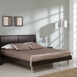None - Jasper Coffee Brown Bed - The Jasper bed will make a bold centerpiece in your master bedroom. This stunning bed features a high straight headboard and low profile footboard style frame,for the perfect luxurious touch to your master suite or guest bedroom.