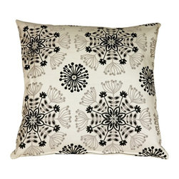 Pillow Decor - Pillow Decor - Waverly Kaleidoscope Tuxedo 20 x 20 Throw Pillow - The Waverly Kaleidoscope Throw Pillow features a woven floral design in silver and black. The background is cream with gray undertones. The fabric is soft yet sturdy and the woven design has a slight sheen giving the pillow depth and richness. This sophisticated color combination makes this a versatile pillow suitable for both formal and casual decor styles.