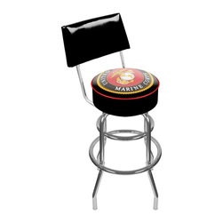 Trademark Global - United States Marine Corps Padded Bar Stool w - Officially licensed art. Reverse printed on commercial plastic to protect logo from wear. 360 degree swivel seat. Seat back provides added support and extra comfort. Luxurious foam padding. Authentic logo highlighted by durable marine grade vinyl. Chrome plated double rung base. Lightweight and supportive. Made from tubular steel. Seat: 14 in. Dia. x 5 in. H. Back rest: 16.75 in. W x 2 in. D x 8.5 in. H. Overall: 20 in. Dia. x 41.75 in. H (25 lbs.)This officially licensed chrome bar stool with back will provide you and your guests with a comfortable seat as well as a stylish accent to your game room, garage or collection. Bring style, function and comfort to your game room, garage or collection with an officially licensed chrome bar stool with back.