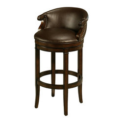 Pastel Furniture - Princetown Swivel Barstool - The Princetown Swivel barstool brings traditional comfort with clean and elegant style.This swivel barstool features a quality wood frame with sturdy legs and foot rest finished in Distressed Cherry. The padded seat is upholstered in Leather Ridge offering comfort and style.