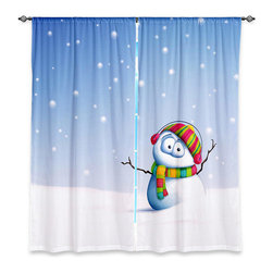 """DiaNoche Designs - Window Curtains Lined by Toosh Toosh Snowman - DiaNoche Designs works with artists from around the world to print their stunning works to many unique home decor items.  Purchasing window curtains just got easier and better! Create a designer look to any of your living spaces with our decorative and unique """"Lined Window Curtains."""" Perfect for the living room, dining room or bedroom, these artistic curtains are an easy and inexpensive way to add color and style when decorating your home.  This is a woven poly material that filters outside light and creates a privacy barrier.  Each package includes two easy-to-hang, 3 inch diameter pole-pocket curtain panels.  The width listed is the total measurement of the two panels.  Curtain rod sold separately. Easy care, machine wash cold, tumble dry low, iron low if needed.  Printed in the USA."""