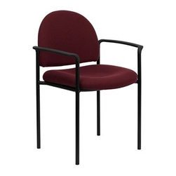 Flash Furniture - Flash Furniture Reception Burgundy Metal Stack Dining Arm Chair - Complete your office or reception area with this stacking side chair by Flash Furniture. The comfortably padded seat and back are provided to make your guests feel at ease while waiting. The steel frame of this chair is strong enough to last for years of use. [BT-516-1-BY-GG] Operating out of Etowah GA (with a warehouse in Reno NV) Flash Furniture specializes in bold upbeat décor for home office or commercial spaces. With a wide array of colors and fashions to fit your budget Flash Furniture accommodates your every need. Features include Stackable Guest Chair Burgundy Fabric Upholstery 2.5'' Thick Padded Seat Two Steel Cross Brace Support Bars underneath Seat Integrated Curved Nylon Arms .75'' Leg Diameter Steel Tubular Steel Frame Black Powder Coated Finish CA117 Fire Retardant Foam. Specifications Seat Size: 19W x 18.5D Back Size: 18.5W x 14.25H Arm Height From Floor: 25.5H Seat Height: 19H Finish: Black Powder Coat Color: Black Burgundy Upholstery: Burgundy Fabric.