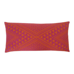 JITI - Small Tangiers Hot-Pink Pillow - X marks the spot. This geometrically patterned pillow will look fantastic against a solid couch. Toss it in your globally inspired home and feel as if you're abroad.