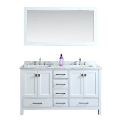 "Ari Kitchen and Bath - Bella 60"" White Transitional Style Bathroom Vanity and Mirror - Beautiful transitional style bathroom vanity by Ari Kitchen and Bath, a new brand manufacturing quality bathroom decor at affordable prices. The new 60"" Bella comes with 1"" edge Italian carrara marble top, backsplash, rectangle undermount CUPC basins, soft-closing drawers and doors, concealed drawer hinges, white framed mirror and solid wood bathroom cabinet. Absolutely no MDF or Particle board on all of our bathroom vanities. All of our bathroom vanities come assembled by the manufacturer, minimal assembly required."