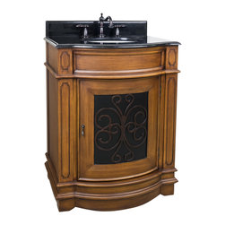 "Hardware Resources - Lyn Design VAN050-T - This 29"" wide MDF vanity has carved scroll detail with two toned toffee finish. The bow front shape adds style to this classic vanity. A large cabinet provides ample storage. This vanity has a 2 cm black granite top preassembled with an H8809WH (15"" x 12"") bowl, cut for 8"" faucet spread, and corresponding 2 cm x 4"" tall backsplash. Overall Measurements: 29"" x 22"" x 36-1/4"" (measurements taken from the widest point)"