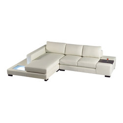 VIG Furniture - T35 Mini - White Leather Sectional Sofa with Light - End table on the armrest for drinks