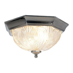 Premier - Flush Mount 12 x 6.25 inch Ceiling Light - Pewter - Enliven and brighten any room in your home with the charming appearance of this octagon-shaped ceiling fixture with the ornate design of etched glass. It includes a pewter finish and uses two 60-Watt medium based bulbs (not included).