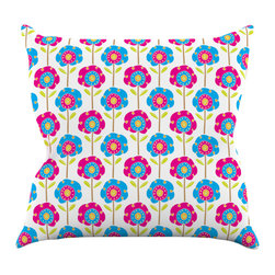 """Kess InHouse - Apple Kaur Designs """"Lolly Flowers"""" Blue Pink Throw Pillow (16"""" x 16"""") - Rest among the art you love. Transform your hang out room into a hip gallery, that's also comfortable. With this pillow you can create an environment that reflects your unique style. It's amazing what a throw pillow can do to complete a room. (Kess InHouse is not responsible for pillow fighting that may occur as the result of creative stimulation)."""