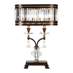 Fine Art Lamps - Eaton Place Rustic Iron Table Lamp, 606010ST - You'll make an impressive statement with this table lamp. The brilliant crystals are balanced by a muted gold-leaf or rustic iron finish, so the effect is both grand and gracious.