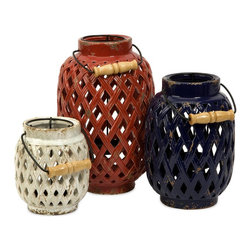 Imax - iMax Bailey Lattice Lanterns - Set of 3 X-3-94296 - In small, medium and large, the set of three Bailey lanterns feature rich patriotic shades and a woven lattice pattern. Removable candleholder makes lighting candles a cinch! Holds pillar candles.