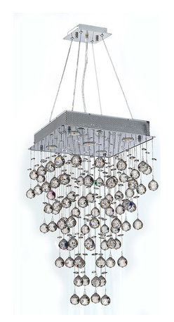 """Worldwide Lighting - Icicle 5-Light Chrome Finish Raindrop Crystal Chandelier 16"""" Square - This stunning 5-light Crystal Chandelier only uses the best quality material and workmanship ensuring a beautiful heirloom quality piece. Featuring a radiant chrome finish and finely cut premium grade crystals with a lead content of 30%, this elegant chandelier will give any room sparkle and glamour. Dual-mount option for flush or suspension. Worldwide Lighting Corporation is a privately owned manufacturer of high quality crystal chandeliers, pendants, surface mounts, sconces and custom decorative lighting products for the residential, hospitality and commercial building markets. Our high quality crystals meet all standards of perfection, possessing lead oxide of 30% that is above industry standards and can be seen in prestigious homes, hotels, restaurants, casinos, and churches across the country. Our mission is to enhance your lighting needs with exceptional quality fixtures at a reasonable price."""