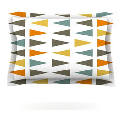 """Kess InHouse - Pellerina Design """"Stacked Geo"""" White Triangles Pillow Sham (Cotton, 40"""" x 20"""") - Pairing your already chic duvet cover with playful pillow shams is the perfect way to tie your bedroom together. There are endless possibilities to feed your artistic palette with these imaginative pillow shams. It will looks so elegant you won't want ruin the masterpiece you have created when you go to bed. Not only are these pillow shams nice to look at they are also made from a high quality cotton blend. They are so soft that they will elevate your sleep up to level that is beyond Cloud 9. We always print our goods with the highest quality printing process in order to maintain the integrity of the art that you are adeptly displaying. This means that you won't have to worry about your art fading or your sham loosing it's freshness."""