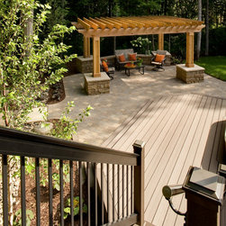Low-Maintenance Deck and Steps - The low-maintenance deck leads you to the cedar pergola, a perfect place to escape the sun. Some days you want the sun....some days you don't.