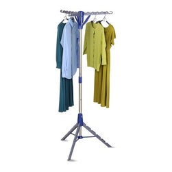 Tripod Drying Rack - Honey-Can-Do DRY-02118 Folding Tripod Air Drying Rack, Gray/Blue.  Maximum air drying in minimal space. This energy saving drying rack holds up to 36 items and uses only 26 square inches of floor space. The extra tall design works for both long and short garments. Unique one-touch folding mechanism lets you fold down both arms and feet in an instant. Constructed with a sturdy and rust-resistant, steel post frame.