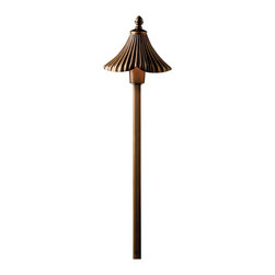 """Kichler 1-Light Landscape Fixture - Olde Bronze - One light landscape fixture. From the gate house garden collection, this lighting path light features a center mounting with ribbed detailing on which a tapered ribbed shade sits. The entire fixture is finished in an olde bronze hue for a warm, elegant look. Comes with 14"""" in-ground stake mounting accessory. Wiring is 34"""" of usable #18-2, spt-1-w leads. cable connector supplied with fixture. Durable die cast brass construction."""