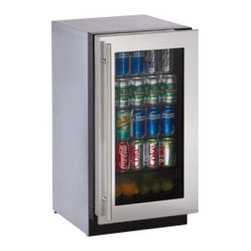 """U-Line - 3018RGLS15 18"""" 3.6 cu. ft. Capacity 3000 Series Undercounter Glass Door Refriger - With the 3018RGLS15 from U-line your drinks will always be ready to serve"""