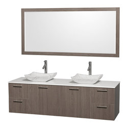 Wyndham Collection - Man-Made Stone Top Vanity Set - Includes drain assemblies, mirror, sinks and P-traps for easy assembly. Faucets not included. Four functional drawers. Two functional doors. Single-hole faucet mount. Fully-extending soft-close drawer slides. Concealed soft-close door hinges. Deep doweled drawers. Unique and striking contemporary design. Highly water-resistant low V.O.C. sealed finish. Eight-stage preparation. Lifetime warping prevention. White man-made stone top. Carrera marble sinks. Metal exterior hardware with brushed chrome finish. Made from veneers and high quality grade E1 MDF. Gray oak finish. Vanity: 72 in. W x 22.25 in. D x 21.25 in. H. Sink: 5.5 in. H. Mirror: 70 in. W x 0.75 in. D x 33 in. H. Care Instruction. Vanity Assembly Instruction. Mirror Assembly InstructionModern clean lines and a truly elegant design aesthetic meet affordability in the (No Suggestions) collection amare vanity. Available with green glass or pure white man-made stone counters, and featuring soft close door hinges and drawer glides, you'll never hear a noisy door again! Meticulously finished with brushed Chrome hardware, the attention to detail on this elegant contemporary vanity is unrivalled.
