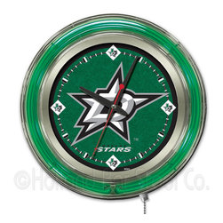 Holland Bar Stool - Holland Bar Stool Clk15DalSta Dallas Stars Neon Clock - Clk15DalSta Dallas Stars Neon Clock belongs to NHL Collection by Holland Bar Stool Our neon-accented Logo Clocks are the perfect way to show your team pride. Chrome casing and a team specific neon ring accent a custom printed clock face, lit up by an brilliant white, inner neon ring. Neon ring is easily turned on and off with a pull chain on the bottom of the clock, saving you the hassle of plugging it in and unplugging it. Accurate quartz movement is powered by a single, AA battery (not included). Whether purchasing as a gift for a recent grad, sports superfan, or for yourself, you can take satisfaction knowing you're buying a clock that is proudly made by the Holland Bar Stool Company, Holland, MI. Clock (1)