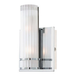 Minka George Kovacs - Minka George Kovacs Rings Two Light Chrome Frosted with Clear Edges Glass Vanity - This Two Light Vanity is part of the Rings Collection and has a Chrome Finish and Frosted with Clear Edges Glass. It is ADA Compliant.