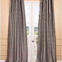 EFF - Silver Faux Silk Jacquard Pole Top Curtain Panel - Rich in texture and color,these faux silk jacquard curtains are gracefully crafted. Experiment with color,texture,and pattern to create a unique look all your own.