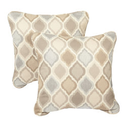 None - Beige/ Grey Indoor/ Outdoor Ogee Corded Square Throw Pillows with Sunbrella Fabr - Bring outdoor durability inside for everyday use with these indoor/ outdoor decorative throw accent pillows made with Sunbrella fabric. These beautiful pillows are trimmed with matching cording for dramatic style.