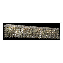 Elegant Lighting - Maxim Chrome Eight-Light Bath Fixture with Royal Cut Golden Teak Smoky Crystal - Royal Cut crystal is a combination of high quality lead free machine cut and machine polished crystals and full-lead machined-cut crystals to meet a desirable showmanship of an authentic crystal light fixture.  -Recommended to be professionally hung and supported independently of the outlet box. Consult an electrician for guidance to determine the correct hanging procedure.  -Crystals may ship separately and some assembly is required.  -Depending on the size & design the assembly can be time consuming, but is well worth the effort. Elegant Lighting - 2033W36C-GT/RC