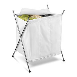 Honey Can Do - Chrome 3 Compartment Folding Hamper w Cover - Fold over cover hides clothes. Chrome plated steel frame- sturdy & rust-resistant. Poly-cotton bag- removable & washable. Folding design stores flat when not in use. 22.3 in. x 18 in. x 27 in.