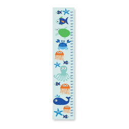 Stupell Industries - Sea Life Blue Growth Chart - Made in USA. Ready for Hanging. Hand Finished and Original Artwork. No Assembly Required. 49 in L x 0.5 in W x 7 in H (4 lbs.)Made in USA! Decorative growth charts for the kid's room by Stupell Industries feature original artwork from in-house artists lithographed onto sturdy mdf fiberboard. Each piece is hand finished and comes with sawtooth hanger on the back for instant hanging. Our growth charts are 7 in.  x 39 in.  and is the perfect decorative piece to measure the little one's growth.