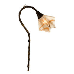 Meyda Lighting - Meyda Lighting Cognac Swirl Handkerchief Shepherd's Hook Fixture - A Craftsman Brown Finished Shepherd Hook Landscape Fixture, Covered In Leaves And Accented With A Tiny Dragonfly, Holds A Draped Caramel And Vanilla Toned Cognac Swirl Baroque Art Glass Shade. This Fixture Is Handcrafted In The USA By Meyda Craftsman.